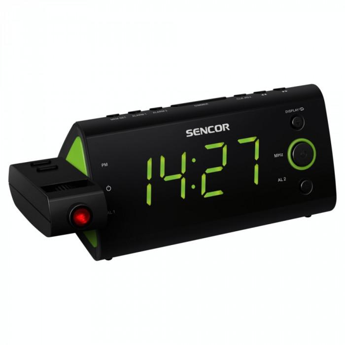 Radio cu ceas Sencor SRC 330 GN cu proiectie ceas Black / Green
