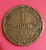 SV * Hannover Germania 1 GROSCHEN 1858 B 1/30 EINEN THALER VF++, Europa, Argint