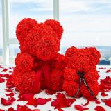 Cumpara ieftin Ursulet din trandafiri, 40cm, rosu, Gonga