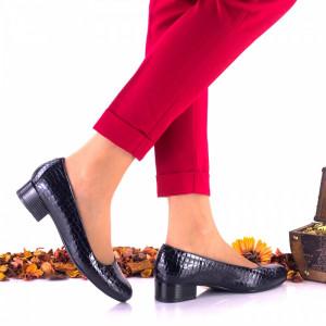 Pantofi dama casual,indigo, din piele naturala, croco - NA234C
