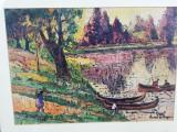 Tablou semnat si datat, autor neidentificat, 50x35 cm, inramat, ulei/carton, Natura, Impresionism