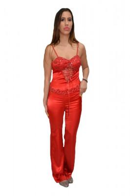 Costum elegant din saten, culoare rosie, cu design dantelat foto