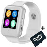Ceas Smartwatch cu Telefon iUni V88,1.22 inch, BT, 64MB RAM, 128MB ROM, Alb + Card MicroSD 4GB Cadou
