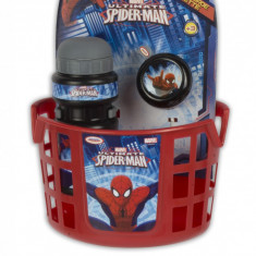 Spiderman - Accesorii Bicicleta (Cos, Sticla Apa, Clopotel)