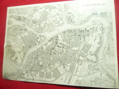 Harta St. Petersburg 1812 - facsimil vechi ,dim.= 20,5x14,7 cm foto