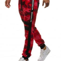 Pantaloni sportivi joggers pentru bărbat camuflaj-roșii Bolf 0877