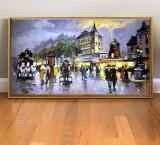 Tablou cu peisaj urban, Tablou abstract modern decorativ pictat in ulei 91x52cm, Realism