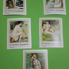 FUJEIRA, PICTURA NUD - SERIE COMPLETĂ MNH IMPERF.
