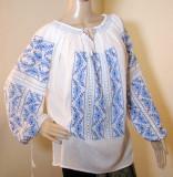 Ie romaneasca brodata manual , camasa populara  lucrata manual panza topita M-L, M/L, Albastru