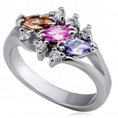 Inel lucios din metal - trei zirconii bobițe colorate, margine transparentă - Marime inel: 55