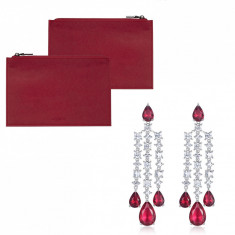 Clutch Ungaro Small Red Cercei Chandelier Long Red Crystal