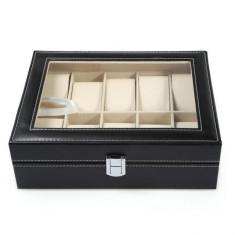 Cutie caseta eleganta depozitare cu compartimente pentru 10 Ceasuri, negru