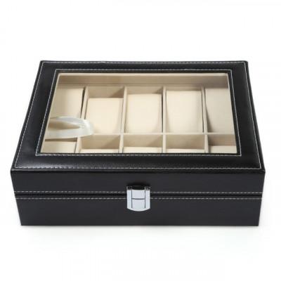 Cutie caseta eleganta depozitare cu compartimente pentru 10 Ceasuri, negru foto
