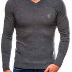 Bluza pentru barbati din bumbac gri inchis casual slim fit E74