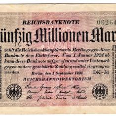 Germania bancnota 50 funfzig millionen mark 50 milioane marci 1923 unifata