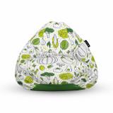 Cumpara ieftin Fotoliu Units Puf (Bean Bag) tip para, impermeabil, cu maner, 80 x 90 x 68 cm, alb cu legume verzi