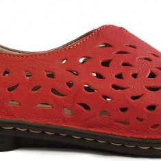 Pantofi dama casual din piele Rieker 48451 rosu