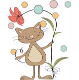 Sticker perete copii Pisica cu floare 80 x 100 cm