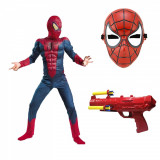 Set costum Spiderman cu muschi Infinity War pentru copii,masca si pistol cu sageti din burete, L, 7 - 9 ani