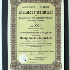Titlu De Stat Obligatiune Germania 1938-100-Reichsmark