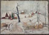 Peisaj de iarna// ulei pe panza, semnat Ciannini, Arbori, Altul