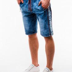 Blugi scurti pentru barbati, albastri, casual, imprimeu lateral - w135, L, XL