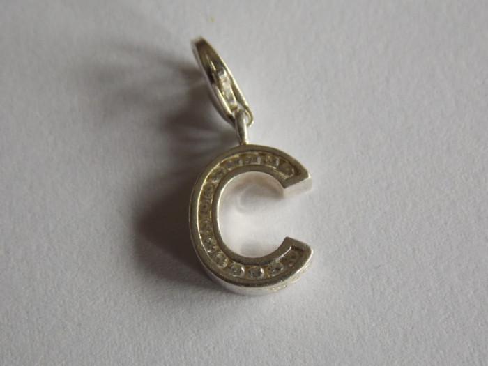 Pandant din argint litera C cu zirconii, marca Thomas Sabo(6086)