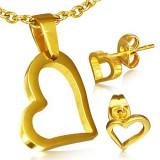 Set auriu din oțel inoxidabil - cercei și pandantiv, contur neregulat de inimă
