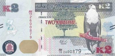 ZAMBIA █ bancnota █ 2 Kwacha █ 2018 █ P-56 █ UNC █ necirculata foto