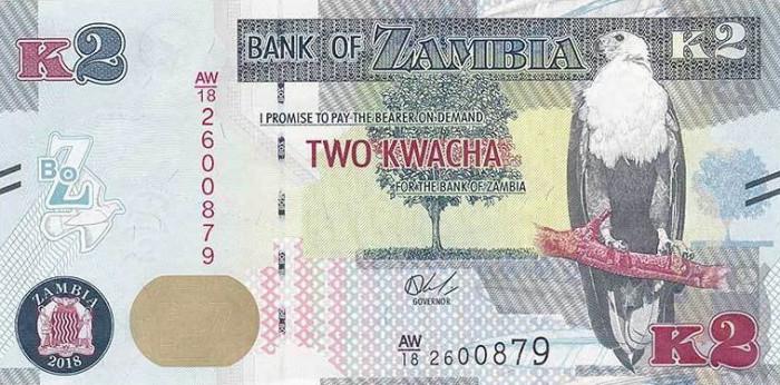 ZAMBIA █ bancnota █ 2 Kwacha █ 2018 █ P-56 █ UNC █ necirculata
