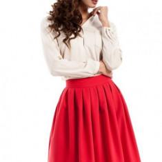 Fusta moderna plisata, de culoare rosie, L, M, S, XL, Rosu