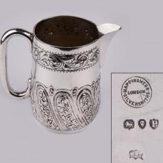SUPERBA CANA,HALBA MARE ARGINT MASIV 925 LONDRA AN 1890, 550 ML,ionizare apa