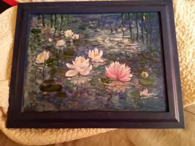 tablou nuferi pictat in ulei foto