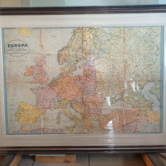 harta Europei 1939 cu Romania Mare, inramata