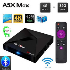 TV Box-PC 4K-3D A5X MAX,Quad-Core,4gb,32gb,Android 8.1,Wi-Fi,Bleutooth,Nou