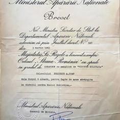 """BREVET PT. ORDINUL """"STEAUA ROMANIEI""""CU SPADE IN GRAD DE COMANDOR"""""""