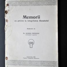 """Monografie veche, Banat 1929: George Popoviciu """"Memorii, Integritatea Banatului"""""""