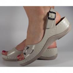 Sandale Ledi bej piele naturala cu platforma (cod 408-17)