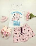 Cumpara ieftin Pijama dama ieftina bumbac cu pantaloni scurti roz si maieu alb cu imprimeu CP
