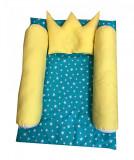 Cumpara ieftin Salteluta cu cilindri de pozitionare si perna de formarea capului bebelusului Deseda Turquise cu galben
