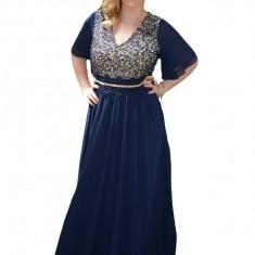 Rochie lunga de nunta, de culoare bleumarin cu paiete lucioase