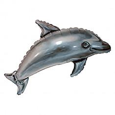 Balon folie figurina metalizata delfin gri - 56x95cm, Radar 901602