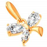 Cumpara ieftin Pandantiv din aur de 14K - fluture mic format din zirconii lucioase de culoare transparentă
