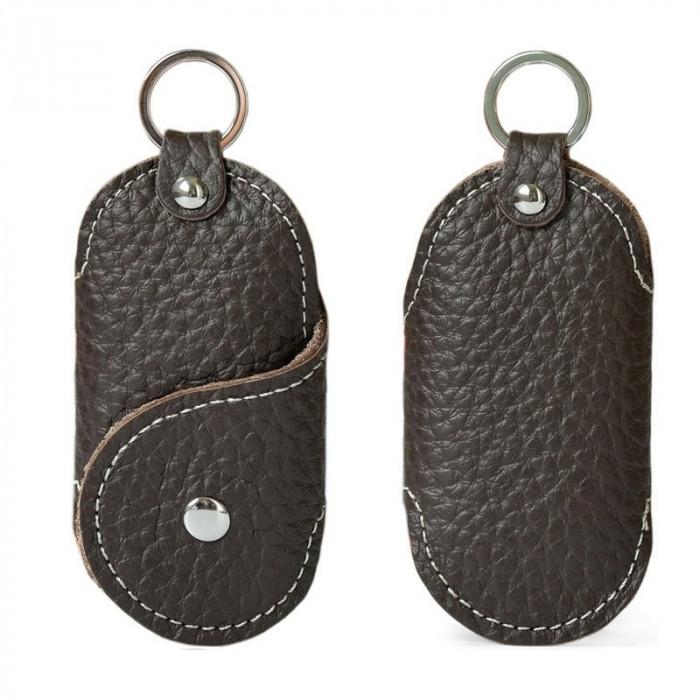 Husa portofel port chei cheie auto, piele naturala, maro, gd1011