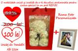 Cadou Ursulet Alb Manual realizat din trandafiri 3D din spumă săpun +Rama Foto