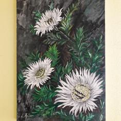 Flori albe – pictură în ulei pe lemn