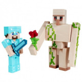 Minecraft, Craft-A-Block - Set 2 figurine Steve si Iron Golem 8 cm, Mattel