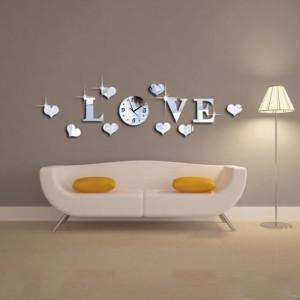Decoratiune Moderna pt perete Sticker,Oglinda ceas LOVE