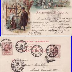 Tipuri- Port national roman  - litografie, rara
