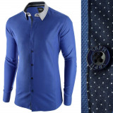 Camasa pentru barbati, albastru inchis, slim fit, casual - A La Fontaine